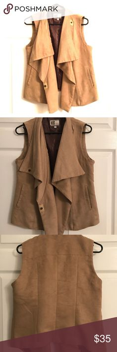KUT Faux Suede Vest Super cute vest that can be dressed up or down! Looks great with jeans or over a dress. Snaps closed with option to snap at the collar for a cowl-neck look. Only worn a couple times. Kut from the Kloth Jackets & Coats Vests
