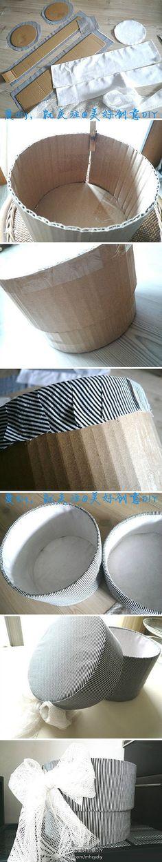 废物利用 硬纸壳做成美美的收纳盒