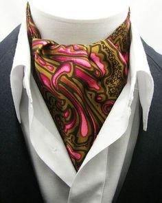 New Modern Day Silk Ascot Cravat Tie Brown Paisley   eBay