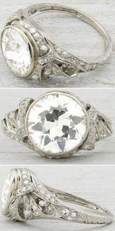 Antique Edwardian/early Art Deco engagement ring, circa 1905. Set with 2.33 carat EGL certified old European cut diamond with H-I color and SI1 clarity. Via Diamonds in the Library.