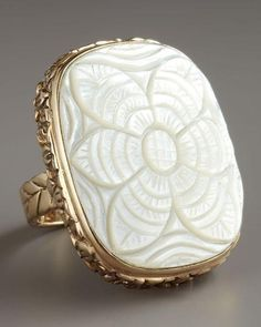 Carved Mother-of-Pearl Ring by Stephen Dweck at Bergdorf Goodman. This Stephen Dweck ring speaks to the season's floral trend in an organic way. Bronze with carved foliage design. Floral-carved mother-of-pearl face. 1 x Made in USA. Pearl Jewelry, Jewelry Box, Vintage Jewelry, Jewelry Accessories, Fashion Accessories, Jewelry Design, Unique Jewelry, Jewlery, Pearl Rings