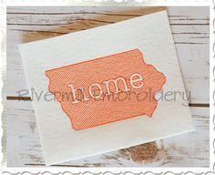 $2.95Sketch Style Iowa Home Machine Embroidery Design