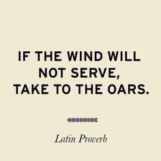 If the wind will not serve, take to the oars. Latin proverb