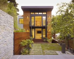 Dark grey and cedar.  Modern Exterior Black And Cedar Design, Pictures, Remodel, Decor and Ideas - page 20