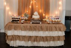 Burlap wedding cake display  cakemydayorders@yahoo.com