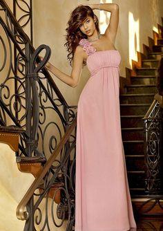 A-line One-shoulder Empire Floor-length Chiffon Bridesmaid Dresses - Bridesmaid Dresses - Wedding Party Dresses - Wedding Apparel