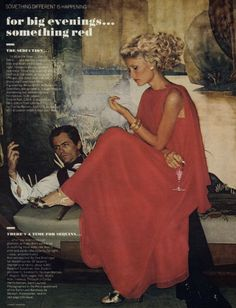 Gunilla Lindblad by Helmut Newton for Vogue October 1974. Click to shop red dresses by Matthew Williamson.