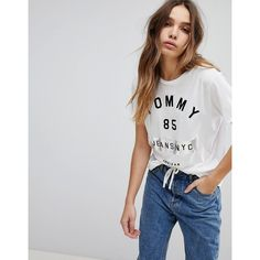 52f5779d Tommy Jeans 85 NYC Logo T Shirt (€52) ❤ liked on Polyvore featuring tops, t- shirts, white, velvet tees, tommy hilfiger t shirt, print tees, crop t shirt  ...