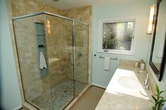 Shower Floor Tile – Think Natural - Pebble Tile Shop Pebble Tile Shower Floor, Glass Block Shower, Pebble Tiles, Stand Up Showers, Shower Repair, Stone Mosaic Tile, Master Bath Remodel, Shower Enclosure, Bathroom Flooring