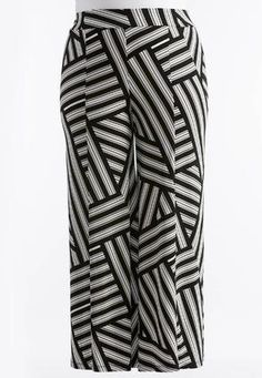 Cato Fashions Striped Patch Extreme Wide Palazzo Pants-Plus #CatoFashions