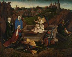 Jan or Hubert van Eyck (?)  The three Marys at the tomb, c. 1430-5