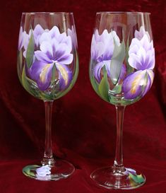 Hand Painted Wine Glasses (Set of 2) - Purple Iris by SilkEleganceFlorals on… Decorated Wine Glasses, Hand Painted Wine Glasses, Irises, Purple Iris, Stemless Wine Glasses, Glass Ceramic, Glass Art, Clear Glass, Etsy