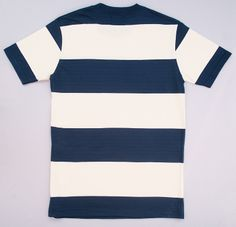 Blue and white block stripe t-shirt - Leith Clothing The Right Stuff, Bold Stripes, Cool T Shirts, Short Sleeve Dresses, Blue And White, Contemporary, Clothing, Cotton, Mens Tops