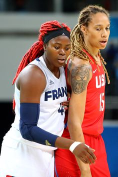 Brittney Griner of USA and Isabelle Yacoubou of France during basketball game…