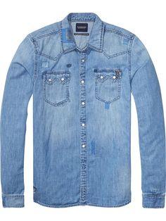 Denim Sawtooth Shirt | Shirts ls | Men Clothing at Scotch & Soda