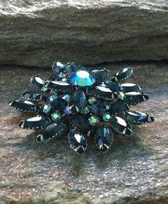 Cobalt Blue Brooch, Blue Rhinestone Layered Flower Brooch, Cobalt Blue Statement Brooch by PassingTides on Etsy