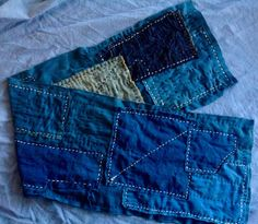 Boro Scarf Handmade Japanese Indigo 10 x by GentlemanMountain  #indigo #japan #japanese #boro #sashiko #denim #vintage #vintagestyle #menswear #womenswear #boho #hippy #rustic #scarf