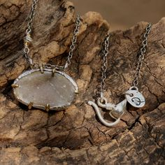 Dainty oval druzy pendant necklace with fine link silver chain