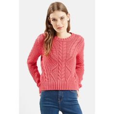 TOPSHOP Cable Knit Crop Sweater (Juniors) ($33) ❤ liked on Polyvore featuring tops, sweaters, pink, pink sweater, pink cable knit sweater, red crop top, cotton sweater i red top