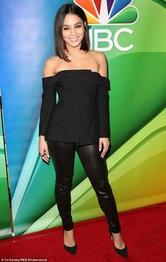 Style Vanessa Hudgens, Vanessa Hudgens Short Hair, Celebrity Outfits, Celebrity Style, Orange Gown, Tight Leather Pants, Nicole Richie, Glamour, Black Tops