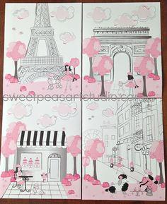 Paris Pink Black Gray Paris Parisan Iconic Landmarks  Art Print Set For Girls bedding