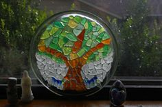 Sea Glass Tree: I used a glass plate and glued the glass on with E-6000.