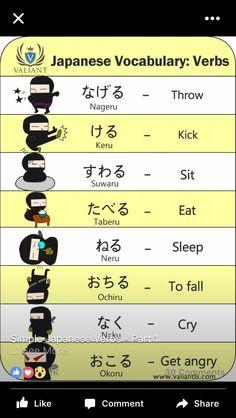 Pin by Effy Created on japanese Basic Japanese Words, Japanese Verbs, Japanese Phrases, Study Japanese, Japanese Kanji, Japanese Names, Japanese Culture, Learning Japanese, Japanese School