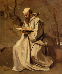 Monk in White, Seated, Reading - Camille Corot, c.1857  Art Experience NYC: www.artexperiencenyc.com