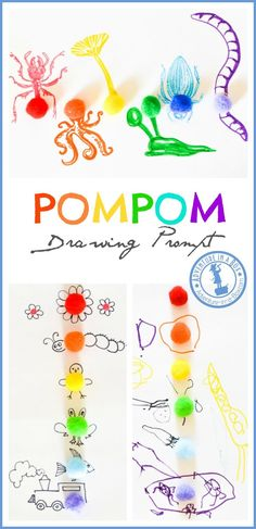 Rainbow Pompom Drawing Prompt for Kids: colourful invitation to create art