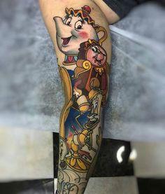 Done by artist @octopus_tattoo #disneytattoos #disneytattoo #disneytatts #disney #tattoos #beautyandthebeast