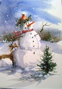 Two Snowman Christmas Watercolor Cards by WatercolorTales on Etsy