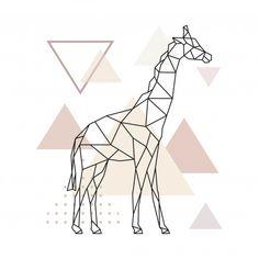 Geometric giraffe on simple triangles background. Premium Ve Triangle Background, Triangle Art, Background Patterns, Vector Background, Giraffe Drawing, Giraffe Art, Geometric Drawing, Geometric Shapes, Geometric Animal