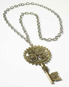 """Steampunk Key Gear - $25.16  A large and complexly geared key speaks of an impossible to pick lock and invalualable treasure - but also of deadly traps waiting to spring on the unweary. Chain 24"""" long and can be adjusted. Key 5"""" x 2 1/2'"""