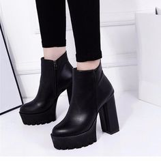 Black Pu Zipper Ankle Chunky Heel Boots - Gchoic.com #shoes #fashion #boots #popular #discount #cheap #under20 #warm #winter