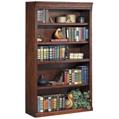 "Kathy Ireland Huntington 60"" Burnished Wood Bookcase ($389) ❤ liked on Polyvore featuring home, furniture, storage & shelves, bookcases, estantes, shelves, brown, cabinets and storage, 5 tier shelf and wooden bookcases"