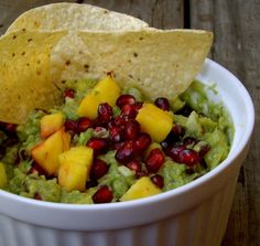 Pomegranate-Mango Guacamole! Yum for holiday or summer treat!