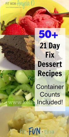 Hello! Is your sweet tooth calling? Answer it with any one of these more than 50 21 Day Fix dessert recipes. For more recipes and 21 Day Fix resources, head to www.FitFunTina.com