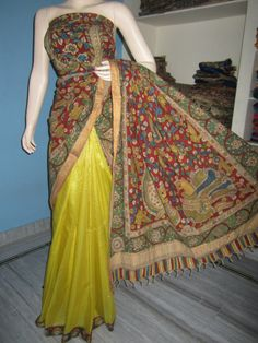 Lovely half and half pure silk saree - Kalahasti Kalamkari