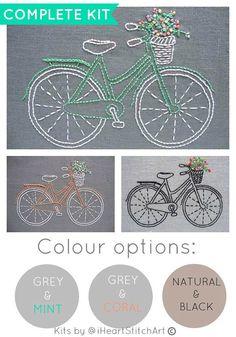 DIY kit de bordado, patron para bordar a bicicleta, bordado a mano moderno, patron para bordar a bicicleta, arte del aro del bordado, iheartstitchart