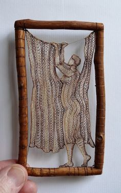 Herczeg Ágnes you are a genius! Creative skills with inspiring craft work! Sculpture Textile, Textile Fiber Art, Textiles Techniques, Weaving Techniques, Arte Linear, Lace Art, Lacemaking, Thread Art, Crochet Art