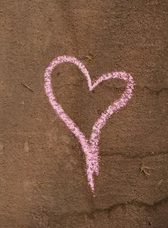 Pink Chalk Heart on Brown