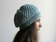 Slouchy Beanie / Chunky knitted Hat / Woman Winter hat / Light mint blue hat /  27 DIFFERENT COLORS by KnittingMamas on Etsy