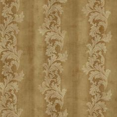 Acanthus Stripe Wallpaper in Brass design by York Wallcoverings
