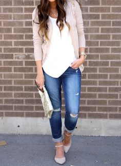 So cute..I would wear something like this every day if I could..cuffed jeans, cardi, flats