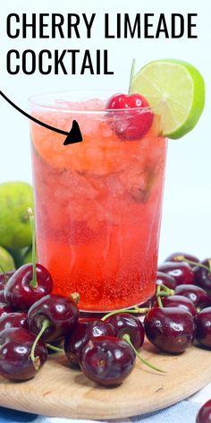 Cherry Limeade Vodka, Cherry Vodka Drinks, Flavored Vodka Drinks, Limeade Drinks, Rum Cocktail Recipes, Vodka Recipes, Alcohol Drink Recipes, Cocktail Drinks, Yummy Vodka Drinks