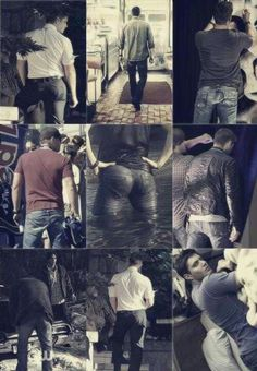 "Jensen from the back. You're welcome.  I love that the middle one is the ""found ass"""