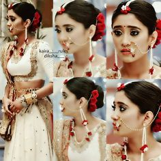 "naira ""@shivangijoshi18 ❤ ❤"" Bridal Hairstyle Indian Wedding, Indian Wedding Outfits, Bridal Outfits, Pakistani Bridal Dresses, Indian Dresses, Floral Hair, Indian Hairstyles, Indian Beauty, Beautiful Dresses"