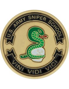 United States Army Sniper School, Bronze with Enamel Coin