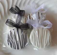 Dipped Oreo Cookie Black and White Party Favors - 120 Favors For Weddings - OOT Bags - Rehearsal Dinner - Anniversary or Birthday - Baptism by SimplyDivineDesserts on Etsy https://www.etsy.com/listing/92558699/dipped-oreo-cookie-black-and-white-party