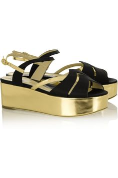 Moschino   Black Satin And Metallic Leather Sandals   Lyst